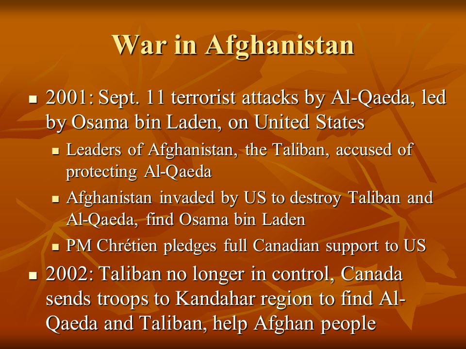 War in Afghanistan 2001: Sept.