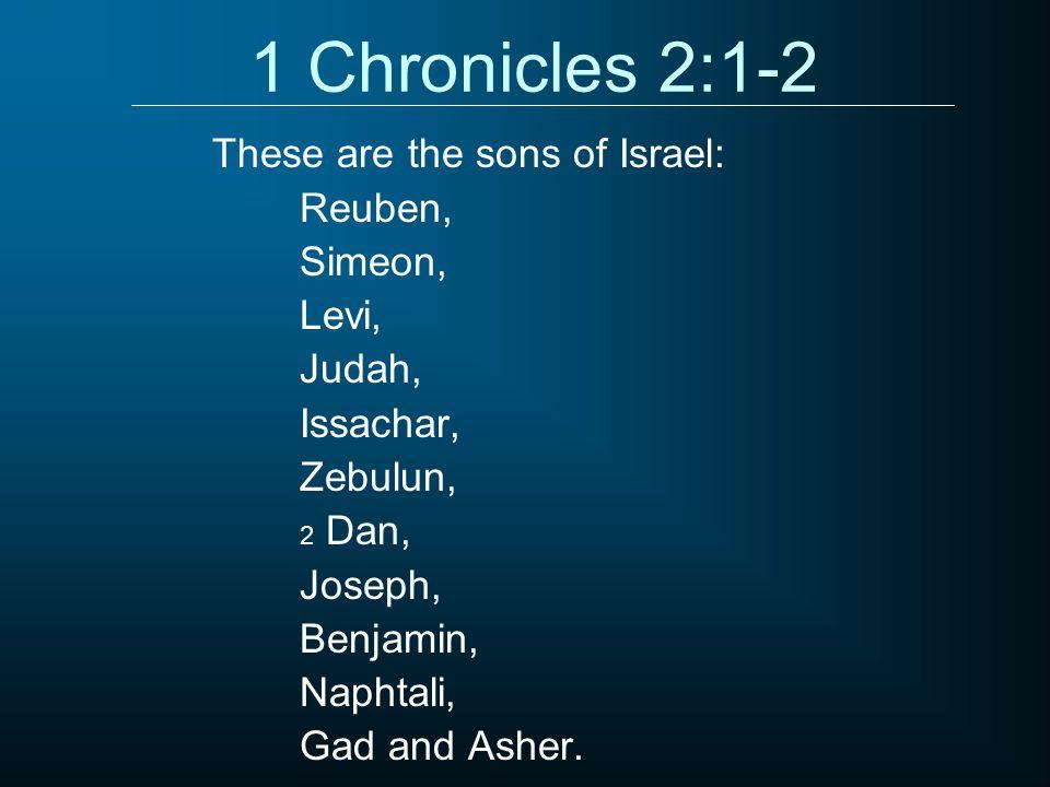 1 Chronicles 2:1-2 Reuben, Simeon, Levi, Judah, Issachar, Zebulun, 2 Dan, Joseph, Benjamin, Naphtali, Gad and Asher.