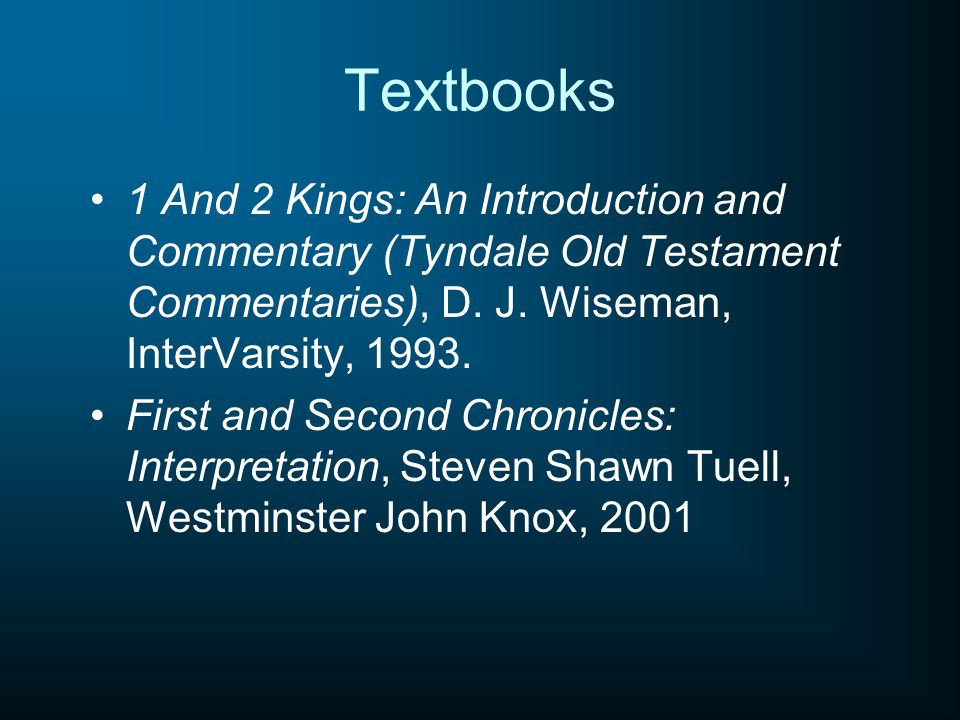 Textbooks 1 And 2 Kings: An Introduction and Commentary (Tyndale Old Testament Commentaries), D.