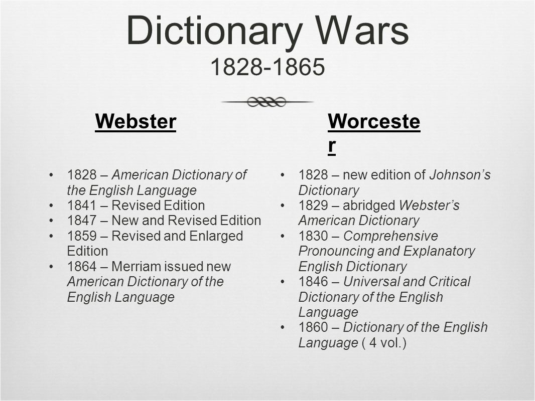 Dictionary Wars 1828-1865 1828 – American Dictionary of the English Language 1841 – Revised Edition 1847 – New and Revised Edition 1859 – Revised and Enlarged Edition 1864 – Merriam issued new American Dictionary of the English Language 1828 – new edition of Johnson's Dictionary 1829 – abridged Webster's American Dictionary 1830 – Comprehensive Pronouncing and Explanatory English Dictionary 1846 – Universal and Critical Dictionary of the English Language 1860 – Dictionary of the English Language ( 4 vol.) WebsterWorceste r