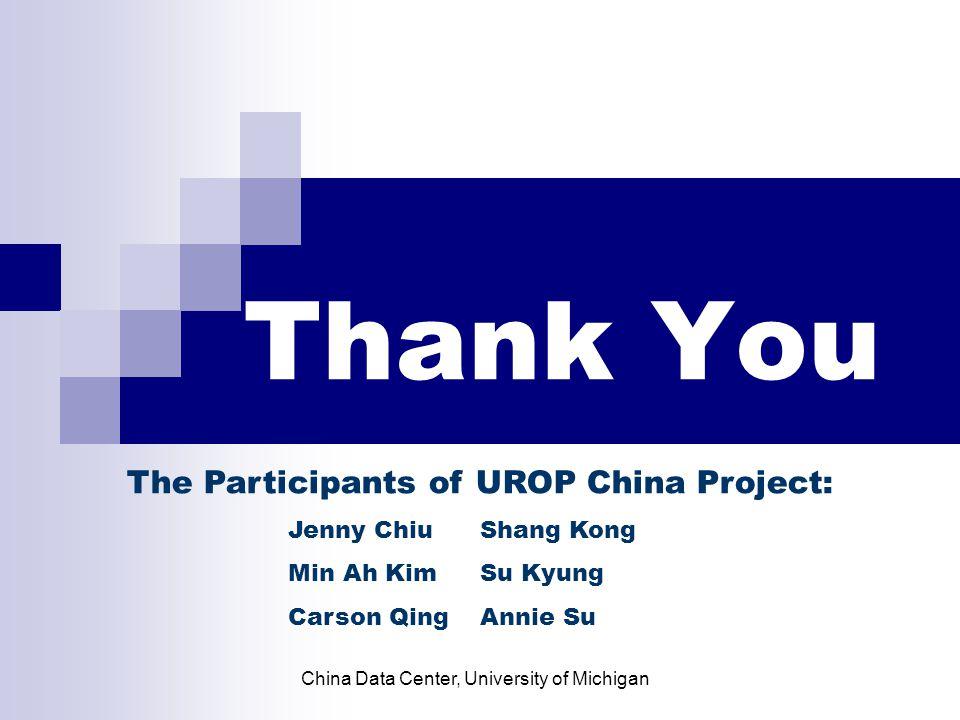 Thank You The Participants of UROP China Project: Jenny ChiuShang Kong Min Ah KimSu Kyung Carson QingAnnie Su China Data Center, University of Michigan
