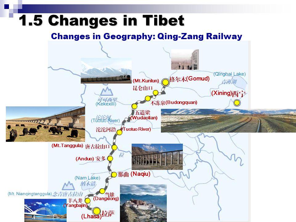 Changes in Geography: Qing-Zang Railway (Xining) (Qinghai Lake) (Gomud) (Mt.Kunlun) (Budongquan) (Wudaolian) (Tuotuo River) (Mt.Tanggula) (Anduo) (Naqiu) (Dangxiong) (Lhasa) (Yangbajin) (Kekexili) (Tuotuo River) (Nam Lake) (Mt.