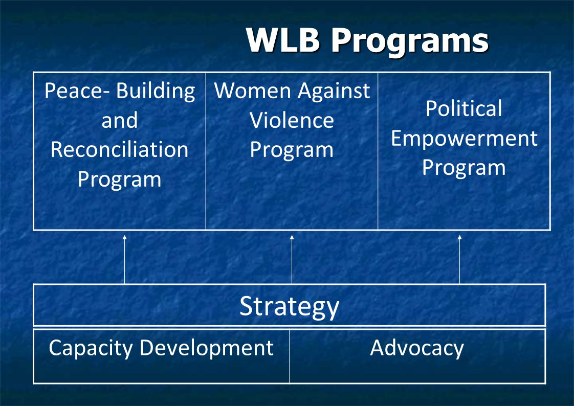 WLB Programs WLB Programs Strategy Capacity DevelopmentAdvocacy Peace- Building and Reconciliation Program Women Against Violence Program Political Empowerment Program