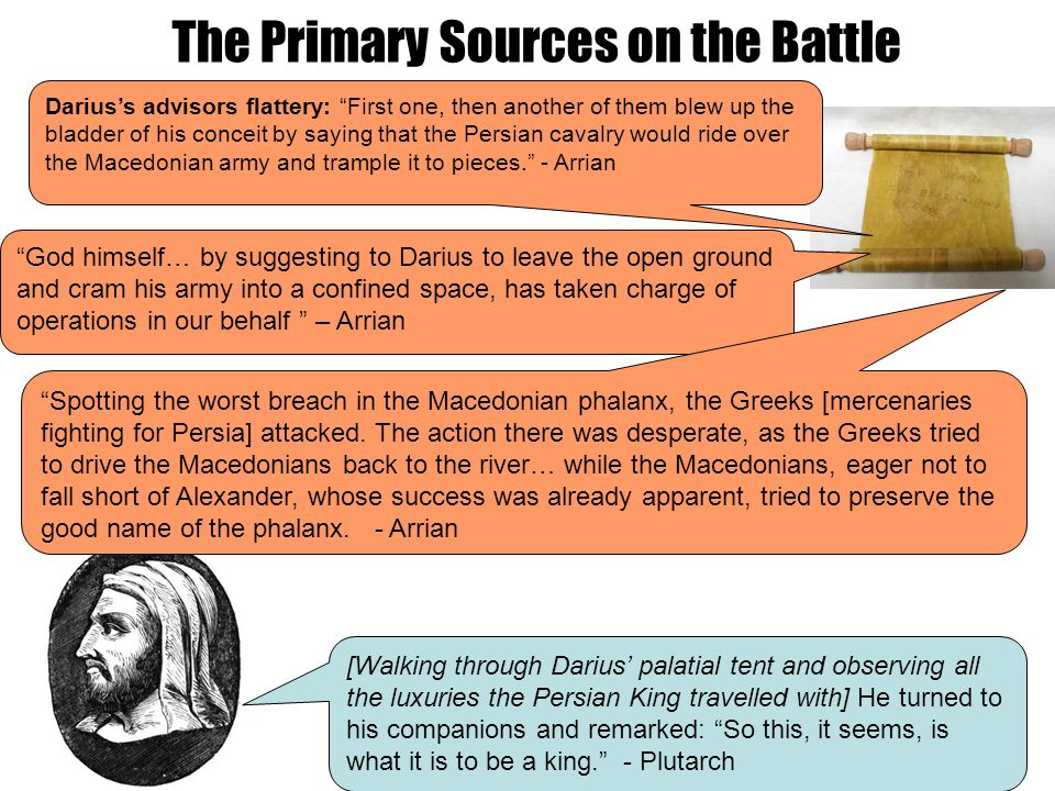 """The Primary Sources on the Battle """"God himself… by suggesting to Darius to leave the open ground and cram his army into a confined space, has taken ch"""