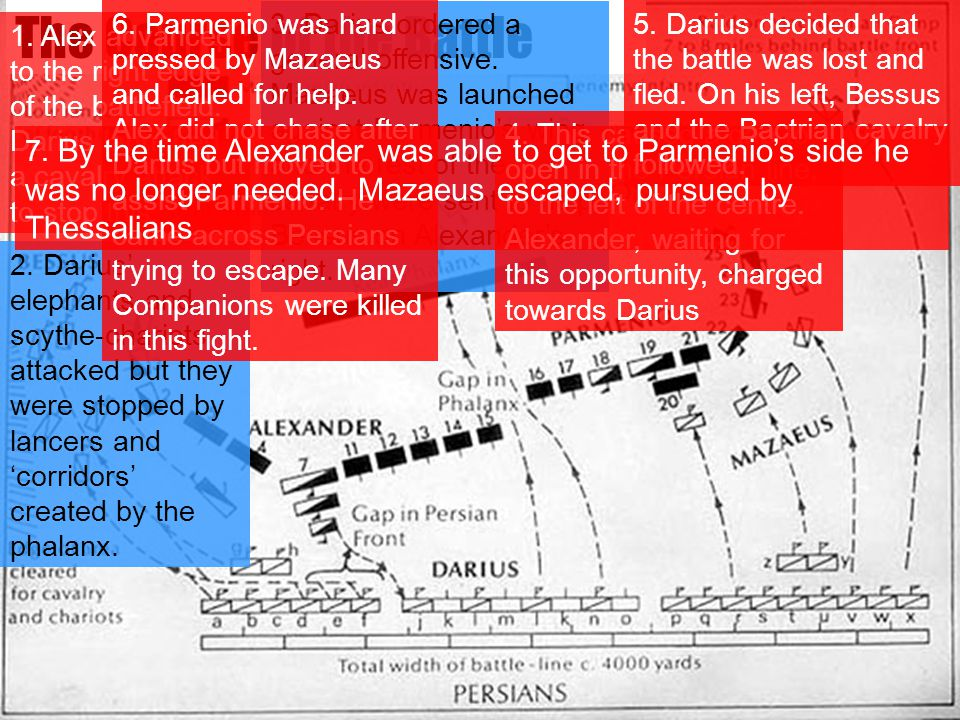 The Course of the Battle 1. Alex advanced to the right edge of the battlefield. Darius launched a cavalry attack to stop this. 2. Darius' elephants an