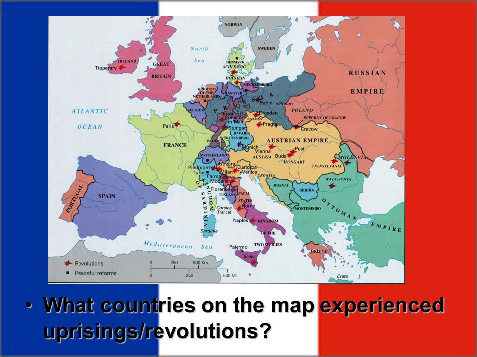 What countries on the map experienced uprisings/revolutions?What countries on the map experienced uprisings/revolutions?
