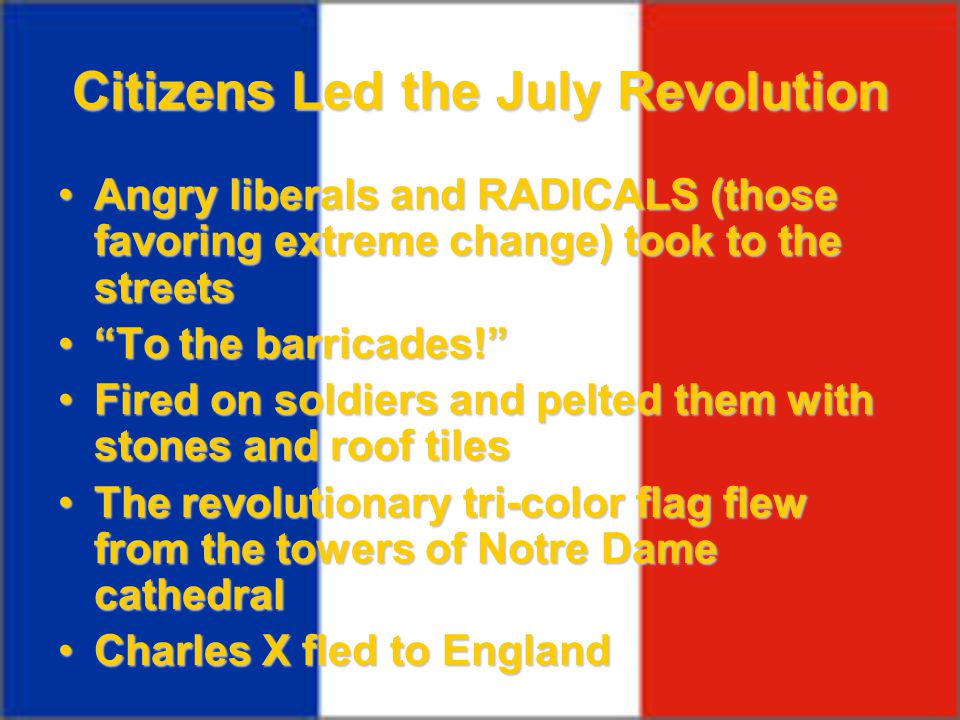 Citizens Led the July Revolution Angry liberals and RADICALS (those favoring extreme change) took to the streetsAngry liberals and RADICALS (those fav