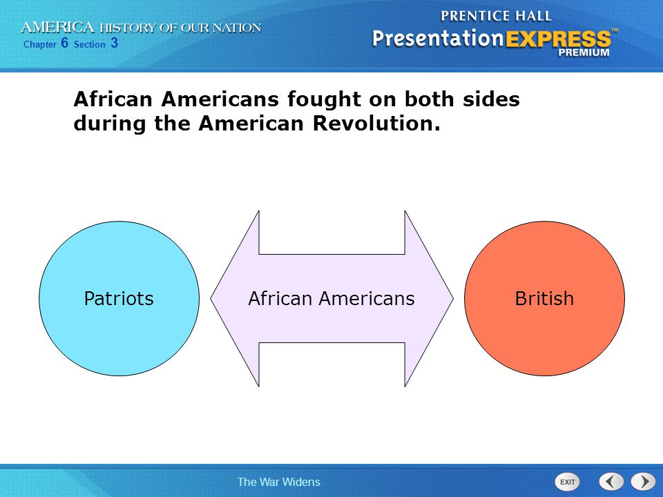 Chapter 6 Section 3 The War Widens Some enslaved people also supported the Americans after escaping from their owners.