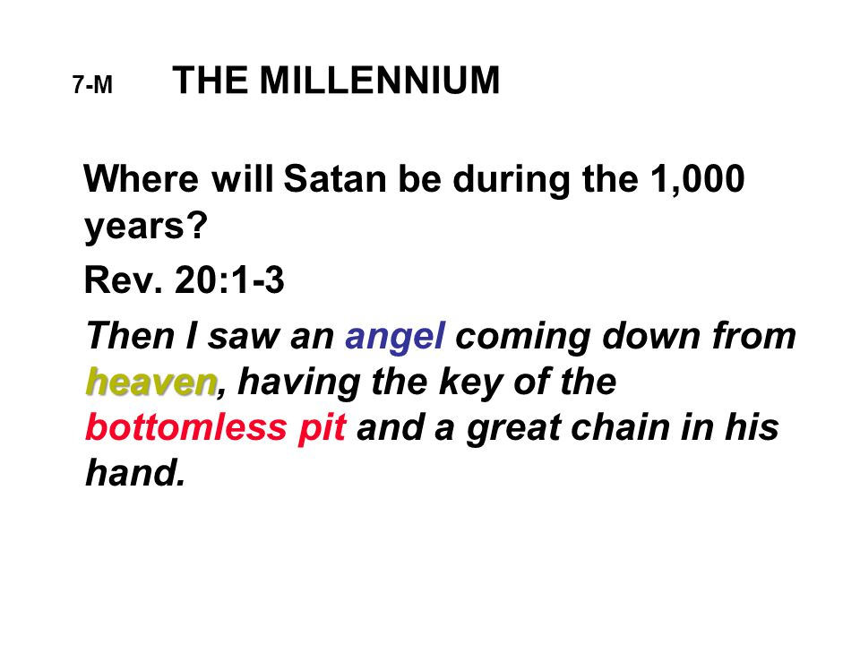7-M THE MILLENNIUM Where will Satan be during the 1,000 years.