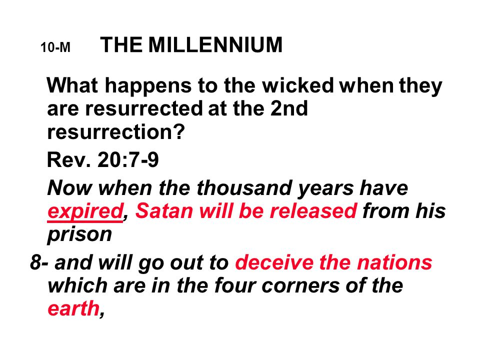 10-M THE MILLENNIUM What happens to the wicked when they are resurrected at the 2nd resurrection.