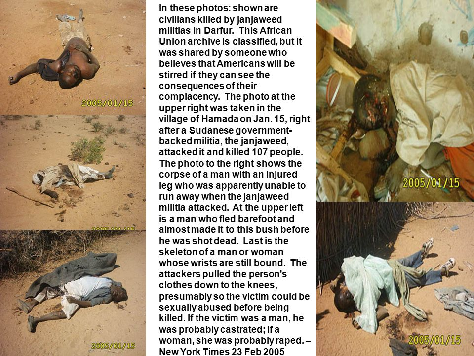 In these photos: shown are civilians killed by janjaweed militias in Darfur. This African Union archive is classified, but it was shared by someone wh