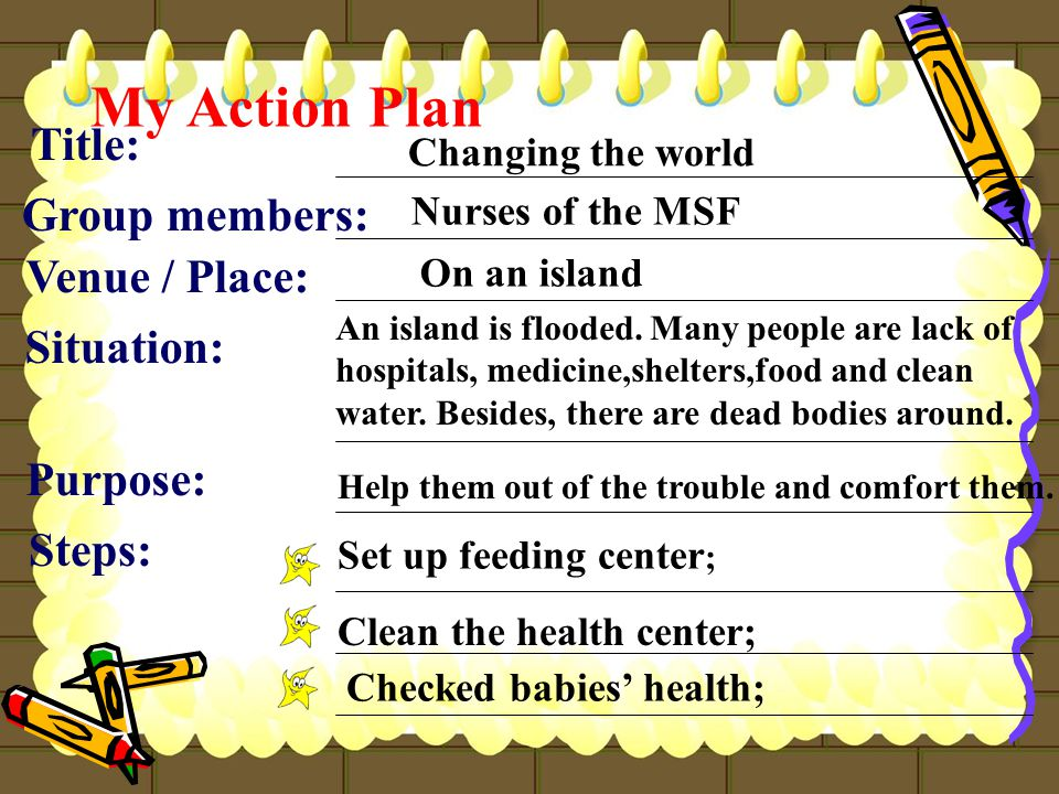 My Action Plan Title: Group members: Changing the world Nurses of the MSF Situation: An island is flooded.