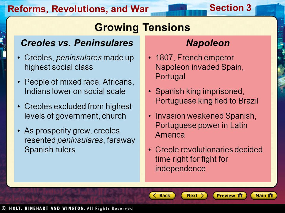 Reforms, Revolutions, and War Section 3 1807, French emperor Napoleon invaded Spain, Portugal Spanish king imprisoned, Portuguese king fled to Brazil