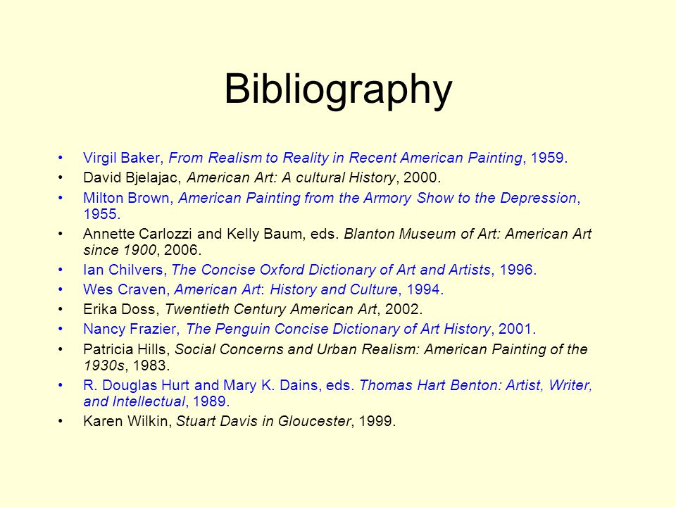 Bibliography Virgil Baker, From Realism to Reality in Recent American Painting, 1959.