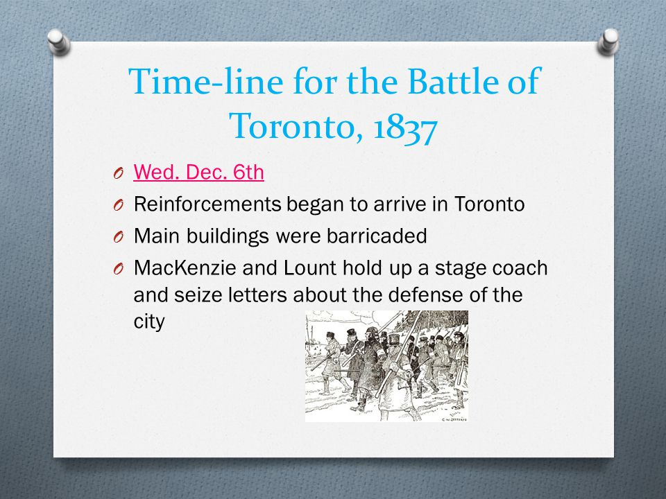 Time-line for the Battle of Toronto, 1837 O Wed. Dec. 6th O Reinforcements began to arrive in Toronto O Main buildings were barricaded O MacKenzie and