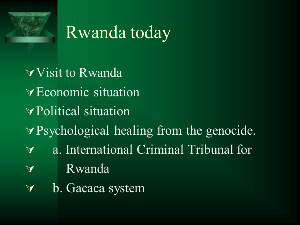 Rwanda today  Visit to Rwanda  Economic situation  Political situation  Psychological healing from the genocide.