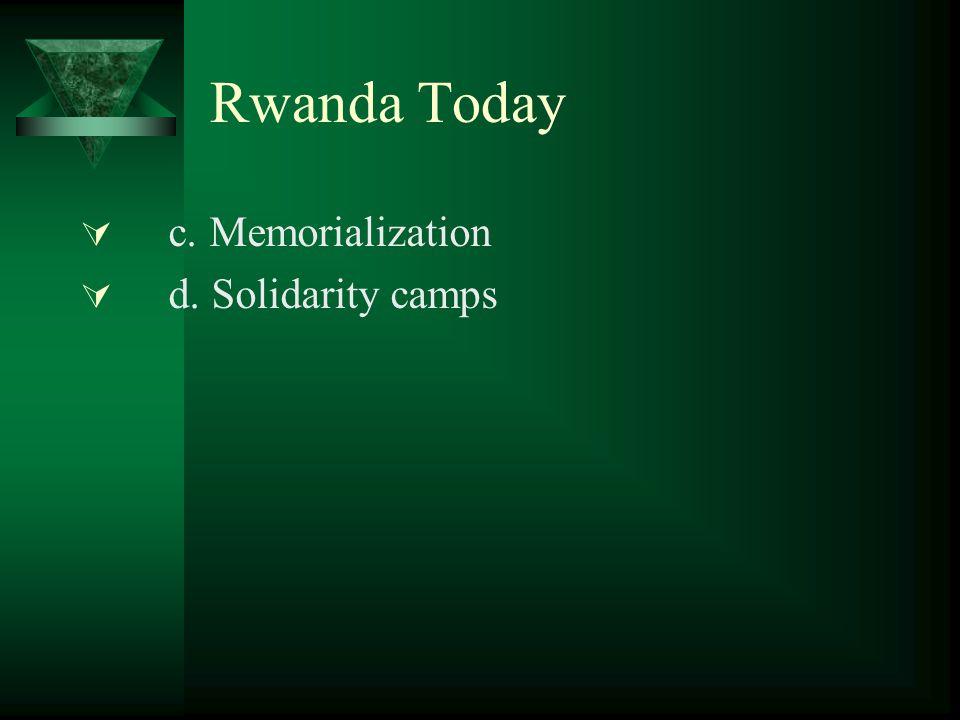 Rwanda Today  c. Memorialization  d. Solidarity camps
