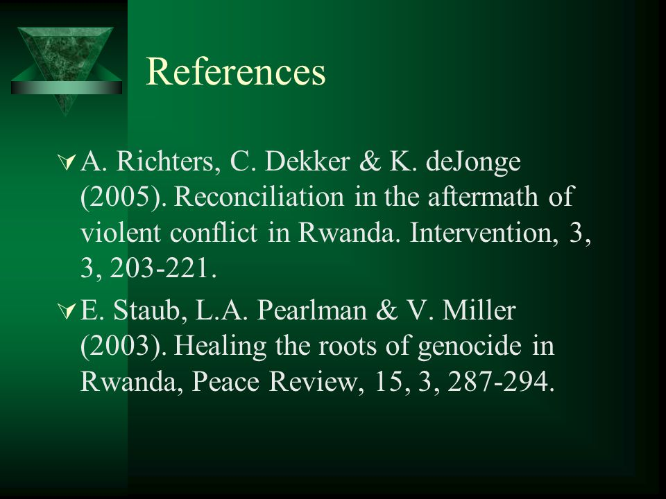 References  A. Richters, C. Dekker & K. deJonge (2005).