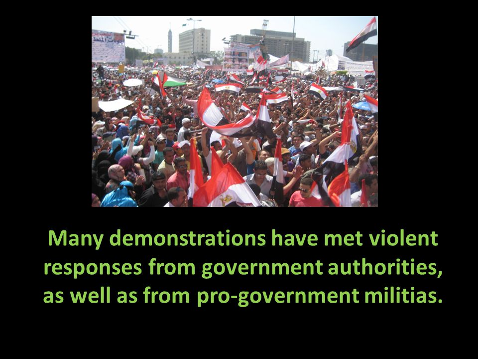 Many demonstrations have met violent responses from government authorities, as well as from pro-government militias.