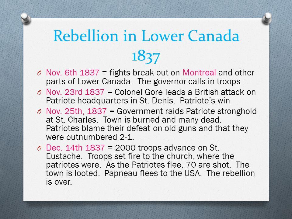 Rebellion in Lower Canada 1837 O Nov.