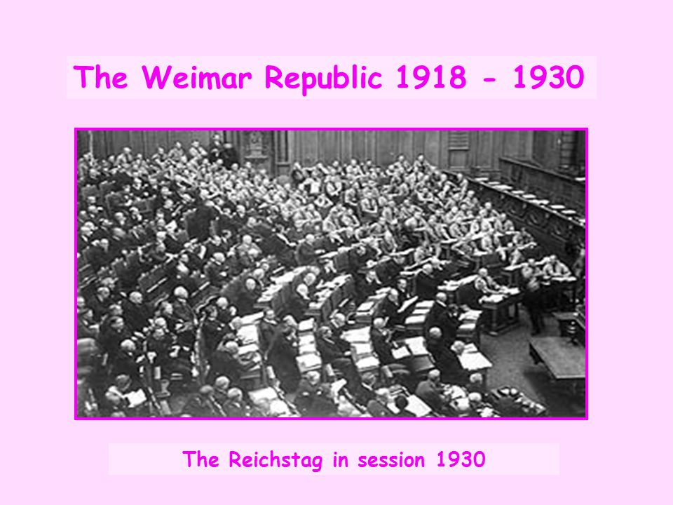 The Weimar Republic 1918 - 1930 The Reichstag in session 1930
