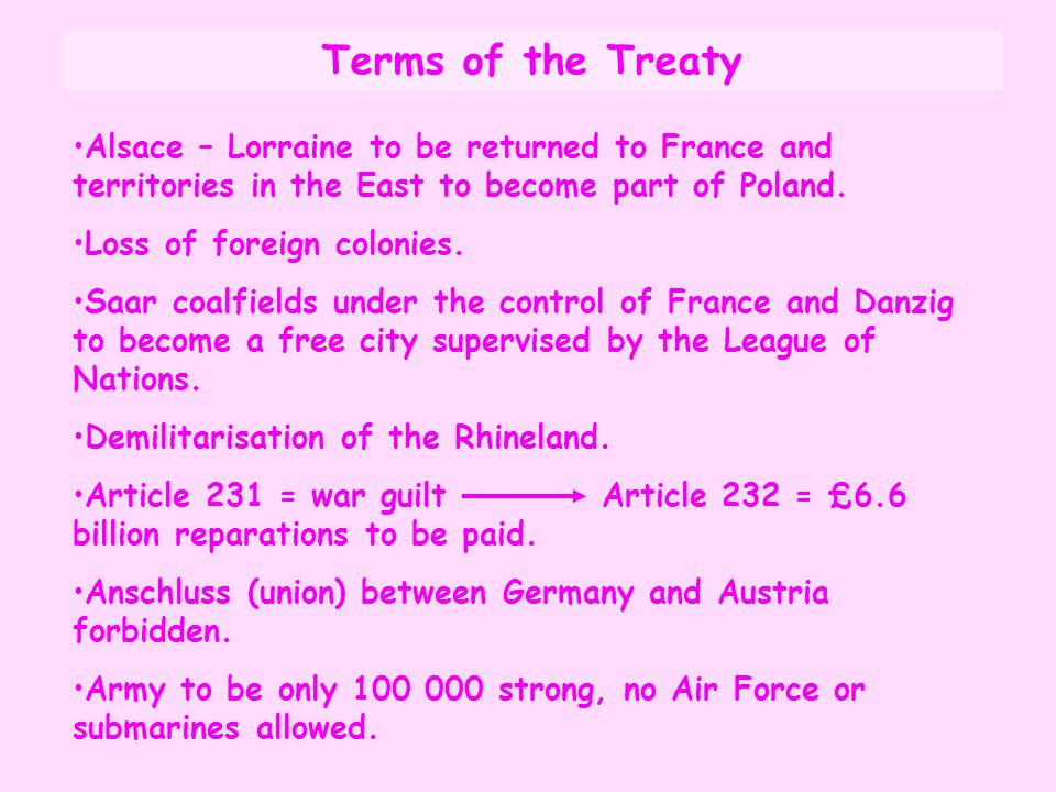 Terms of the Treaty Alsace – Lorraine to be returned to France and territories in the East to become part of Poland. Loss of foreign colonies. Saar co