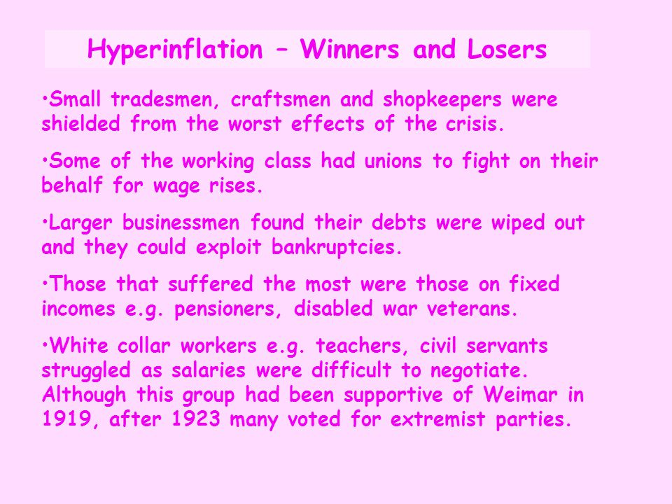 Small tradesmen, craftsmen and shopkeepers were shielded from the worst effects of the crisis. Some of the working class had unions to fight on their