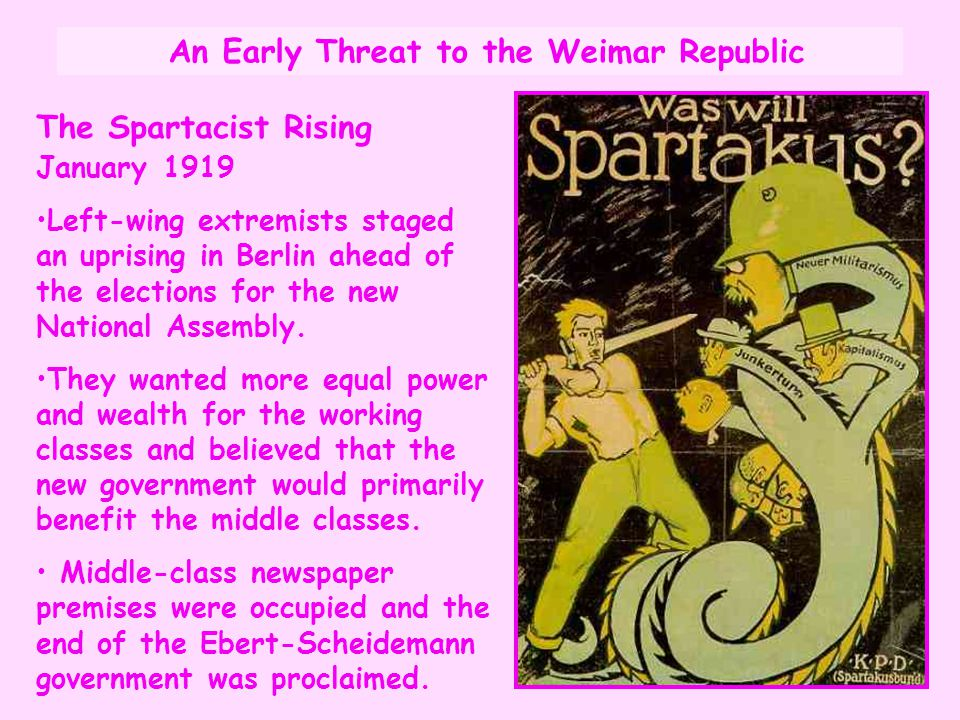 An Early Threat to the Weimar Republic The Spartacist Rising January 1919 Left-wing extremists staged an uprising in Berlin ahead of the elections for