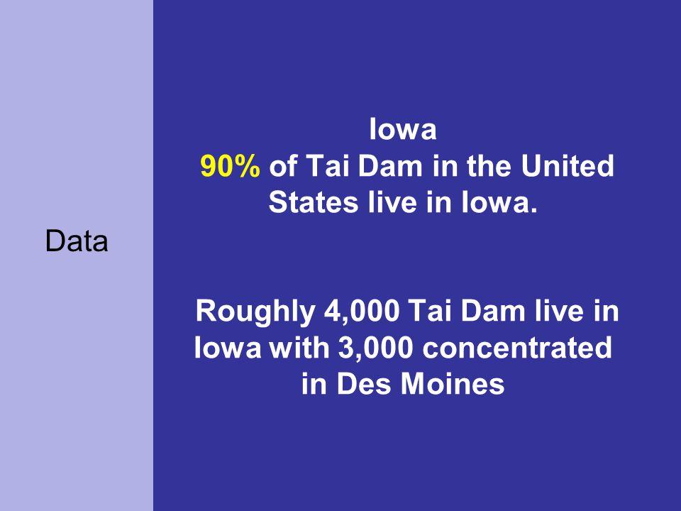 Iowa 90% of Tai Dam in the United States live in Iowa.