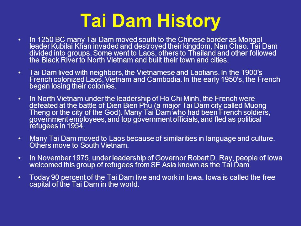 Tai Dam History In 1250 BC many Tai Dam moved south to the Chinese border as Mongol leader Kubilai Khan invaded and destroyed their kingdom, Nan Chao.