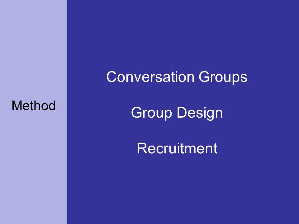 Conversation Groups Group Design Recruitment Method