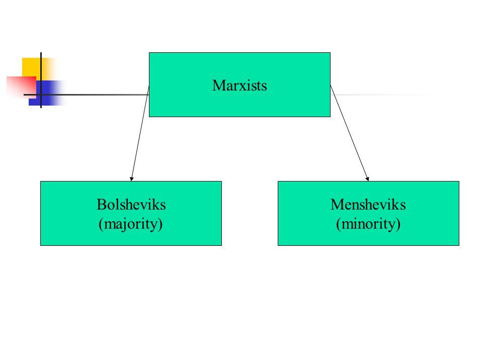 Marxists Bolsheviks (majority) Mensheviks (minority)