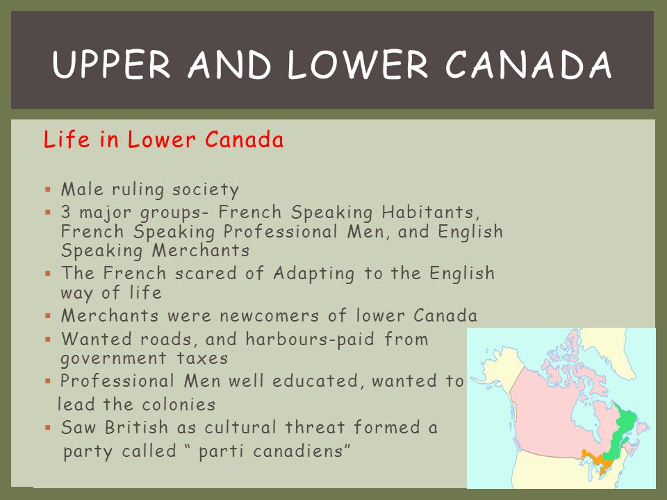 WHO OCCUPIED EACH COLONY IN UPPER & LOWER CANADA.