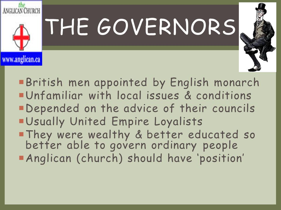  Colony had elected Assembly representatives from each district  Made plans for colony needing approval of Governor & Councils  Executive & Legislative Councils appointed from 'Upper Class', & weren't bound to follow wishes of the people  Real power was in the hand of the Governor & Councils, the people had no REAL influence GOVERNANCE IN THE COLONY