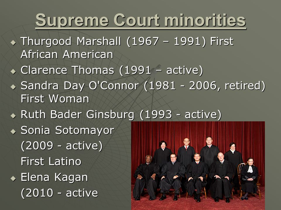 Supreme Court minorities  Thurgood Marshall (1967 – 1991) First African American  Clarence Thomas (1991 – active)  Sandra Day O Connor (1981 - 2006, retired) First Woman  Ruth Bader Ginsburg (1993 - active)  Sonia Sotomayor (2009 - active) First Latino  Elena Kagan (2010 - active