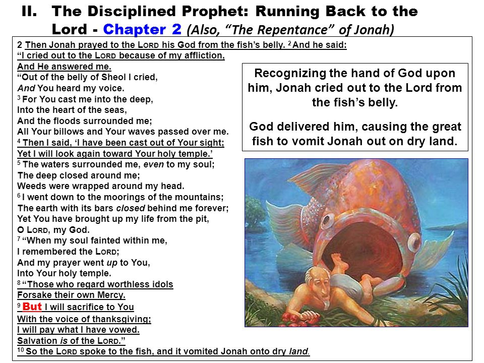 II.The Disciplined Prophet: Running Back to the Lord - Chapter 2 (Also, The Repentance of Jonah) 2 Then Jonah prayed to the L ORD his God from the fish's belly.