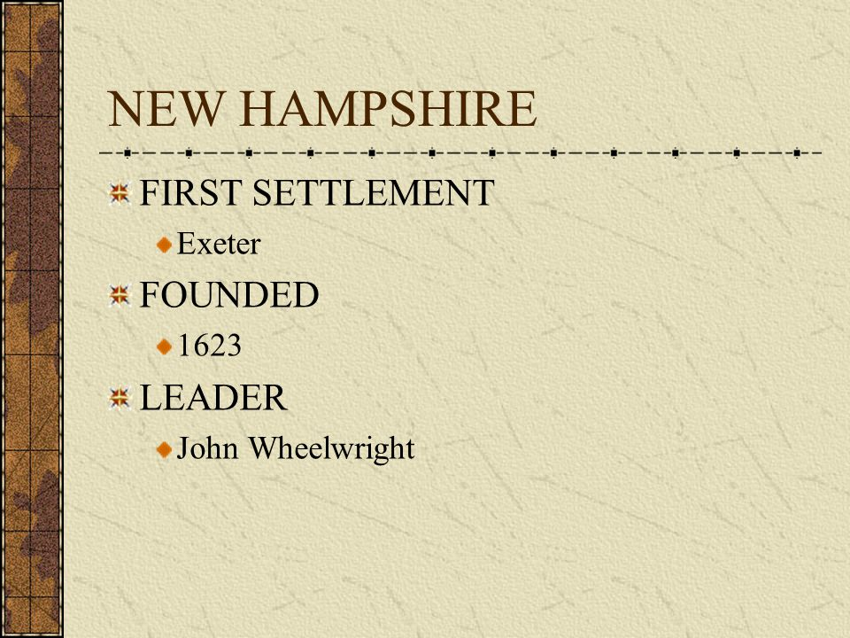 COLONY # 3 NEW HAMPSHIRE 1623