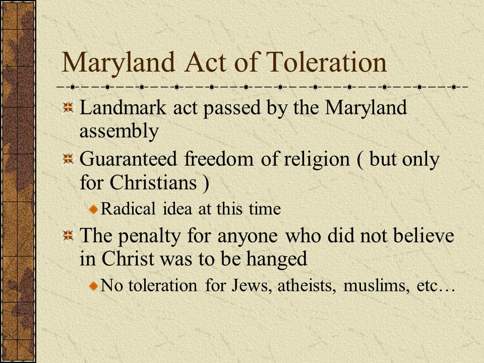 Lord Baltimore Catholic Englishman Founded the Maryland colony on the idea of religious freedom where Protestants and Catholics could live together in