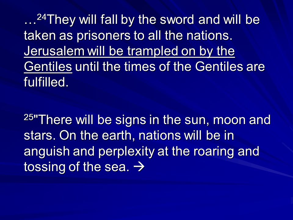 … 24 They will fall by the sword and will be taken as prisoners to all the nations.