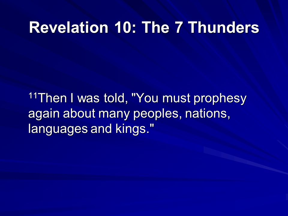 Revelation 5: John watches an episode in heaven…only the Lamb is worthy to break the 7 seals Revelation 6: The Seals (1-6) Revelation 7: 144,000 Sealed; Great Multitude in White Robes Revelation 8-9: The 7 th Seal: (a second look at the Tribulation?) Revelation 10: The 7 Thunders Revelation 11: The Two Witnesses, the 7 th trumpet