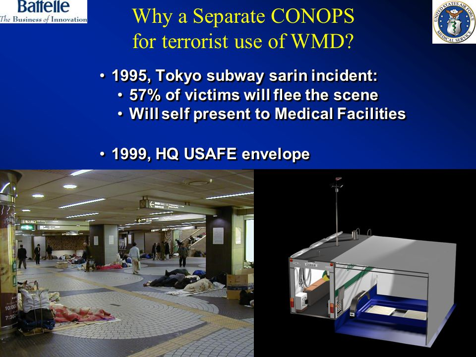 10 1995, Tokyo subway sarin incident:1995, Tokyo subway sarin incident: 57% of victims will flee the scene57% of victims will flee the scene Will self present to Medical FacilitiesWill self present to Medical Facilities 1999, HQ USAFE envelope1999, HQ USAFE envelope 1995, Tokyo subway sarin incident:1995, Tokyo subway sarin incident: 57% of victims will flee the scene57% of victims will flee the scene Will self present to Medical FacilitiesWill self present to Medical Facilities 1999, HQ USAFE envelope1999, HQ USAFE envelope Why a Separate CONOPS for terrorist use of WMD?