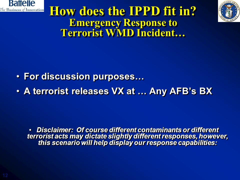 12 How does the IPPD fit in? Emergency Response to Terrorist WMD Incident… For discussion purposes…For discussion purposes… A terrorist releases VX at