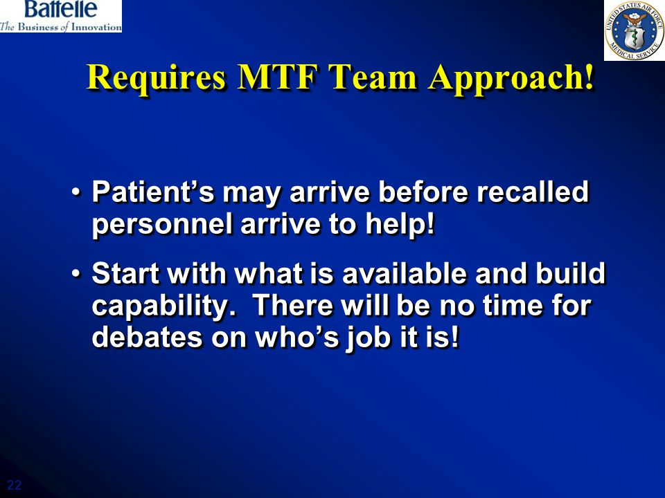 22 Requires MTF Team Approach! Patient's may arrive before recalled personnel arrive to help!Patient's may arrive before recalled personnel arrive to