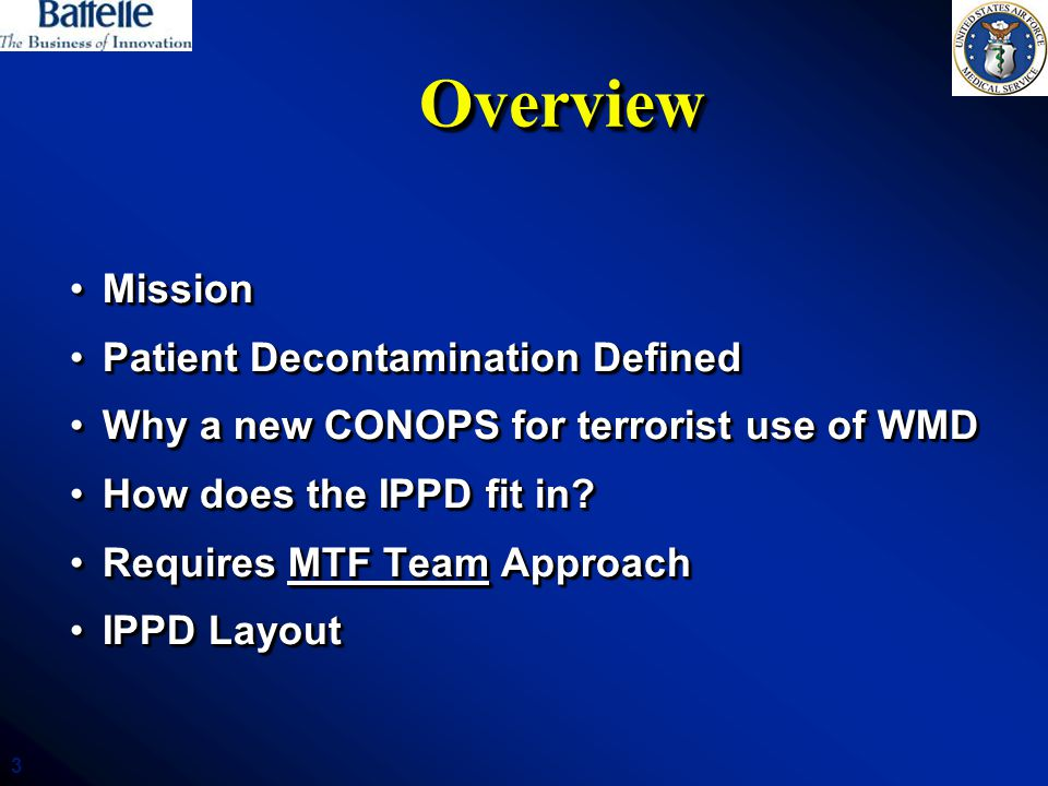 3 OverviewOverview MissionMission Patient Decontamination DefinedPatient Decontamination Defined Why a new CONOPS for terrorist use of WMDWhy a new CONOPS for terrorist use of WMD How does the IPPD fit in?How does the IPPD fit in.