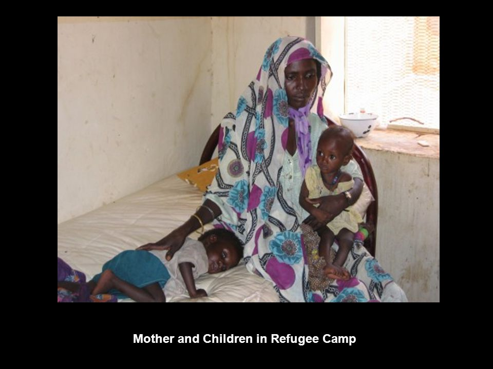 Mother and Children in Refugee Camp