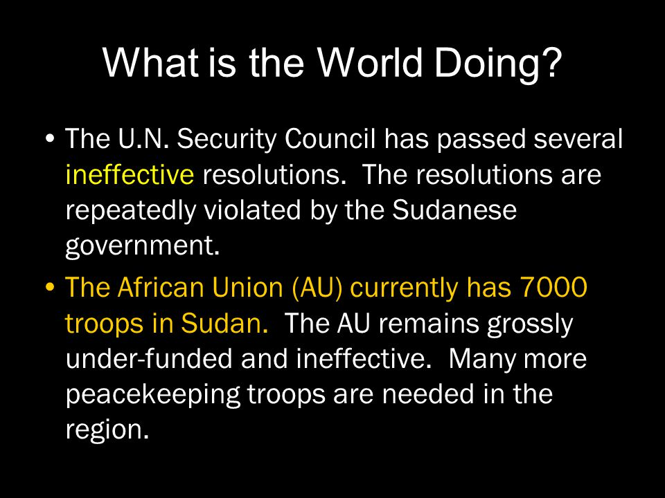 What is the World Doing. The U.N. Security Council has passed several ineffective resolutions.