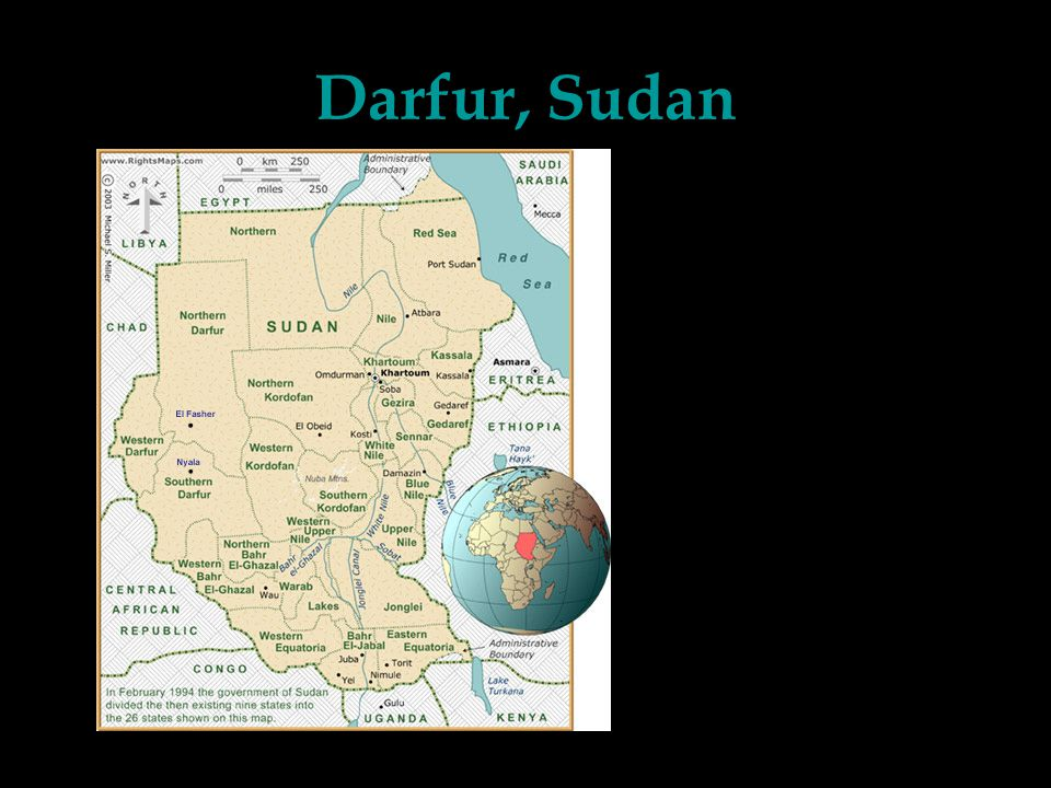 Darfur, Sudan Sudan is the largest country by area in Africa Darfur is a region in western Sudan, approximately the size of Texas 6 million people used to live in Darfur