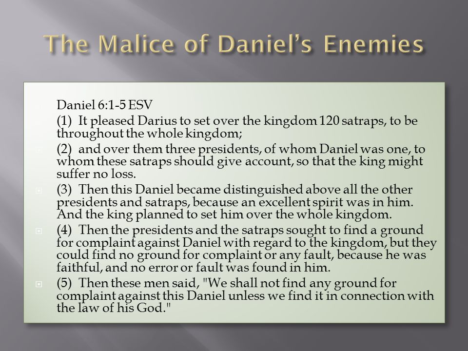  Daniel 6:18-24 ESV  (18) Then the king went to his palace and spent the night fasting; no diversions were brought to him, and sleep fled from him.