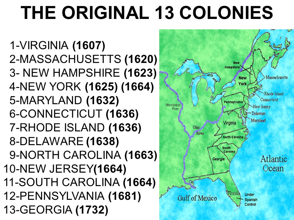 THE ORIGINAL 13 COLONIES 1-VIRGINIA (1607) 2-MASSACHUSETTS (1620) 3- NEW HAMPSHIRE (1623) 4-NEW YORK (1625) (1664) 5-MARYLAND (1632) 6-CONNECTICUT (16