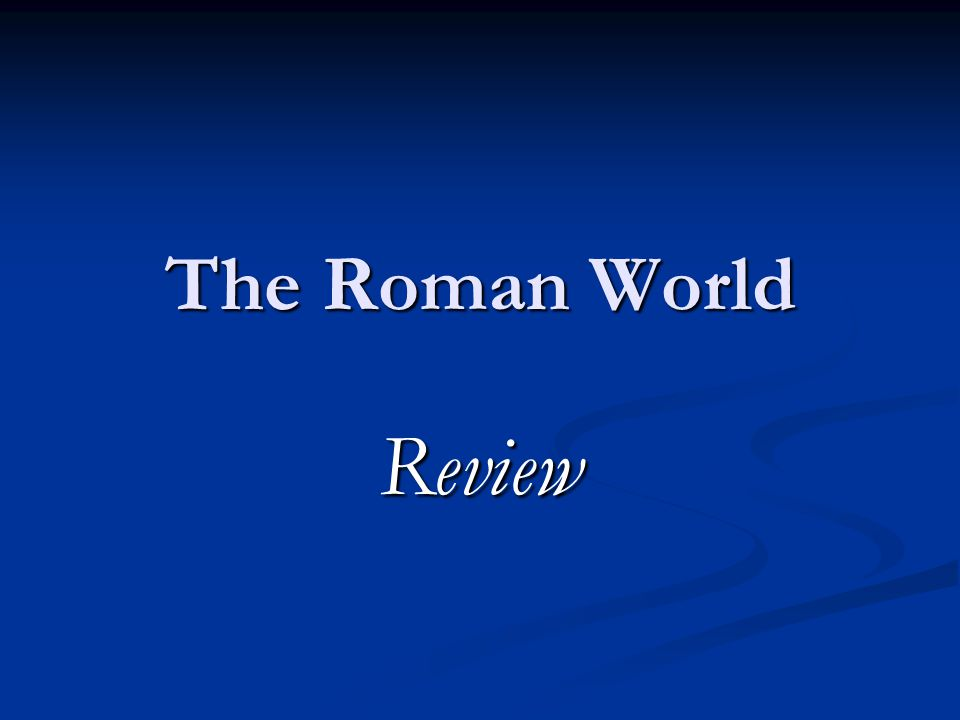 The Roman World Review